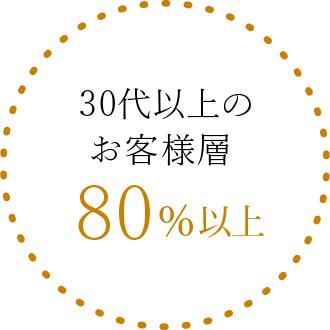 大人女性におすすめ30代40代のお客様80%